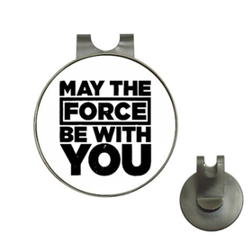 Golf Hat Clip with Ball Marker : May The Force Be With You (white-black)
