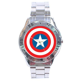 Chrome Dial Watch : Captain America Shield