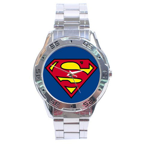 Chrome Dial Watch : Superman Shield