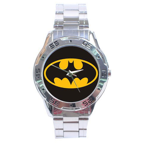 Chrome Dial Watch : Batman Shield