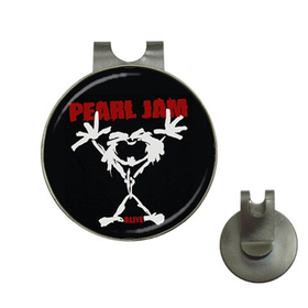 Golf Hat Clip with Ball Marker : Pearl Jam - Stickman - Alive (black-white)