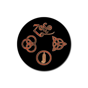 Coasters (4 Pack - Round) : Led Zeppelin Symbols
