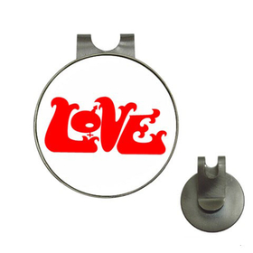 Golf Hat Clip with Ball Marker : Love (white)